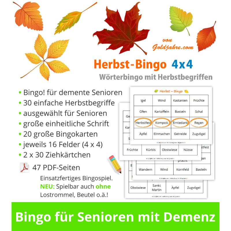Herbst Bingo 4x4 Für Senioren