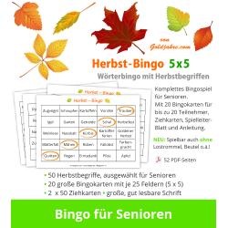 Herbst-Bingo 5x5 für Senioren